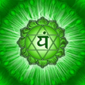 Symbolic representation of the heart chakra. The Sanskrit symbol in the centre represents the sound associated with the heart - YAM. The upward pointing triangle represents the positive emotions associated with the heart, and the downward triangle the negative. Each of the 12 petals represents a sacred aspect of the heart: understanding, kindness, joy, peace, harmony, clarity, forgiveness, patience, love, purity, bliss, compassion.