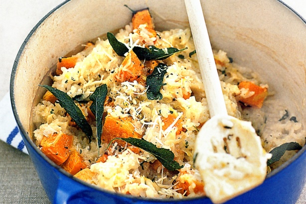 pumpkin, feta and sage oven baked risotto from Australian Good Taste magazine