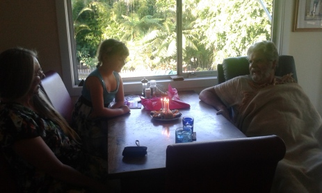 Blowing out the candles with Granma and Pop