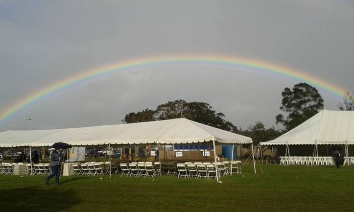 The first morning of the Byron Bay Writers Festival. There are puddles and gumboots, but we are all ready to go :)