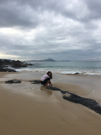 A quick walk on the beach in between showers